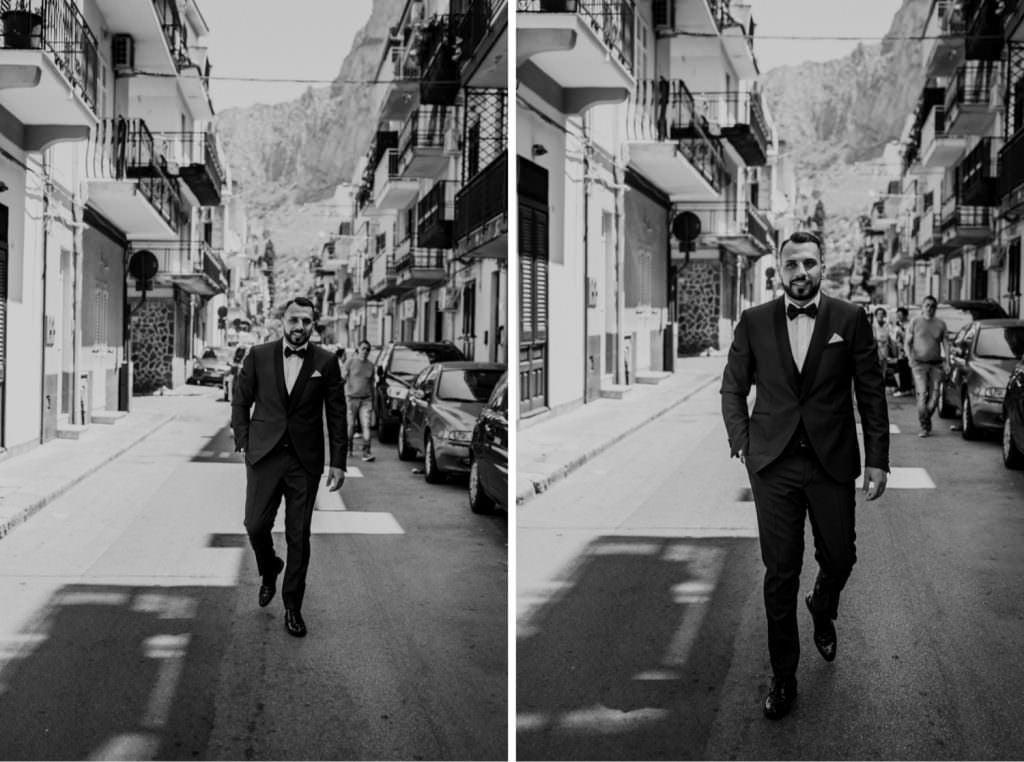 Seaside Wedding in Sicily portrait groom black and white