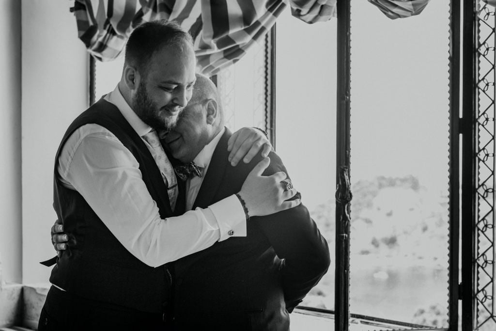 Coastal Wedding in Taormina, Sicily, hug a daddy