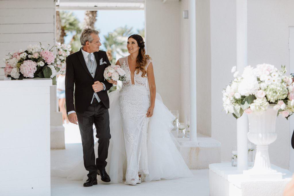 Seaside Wedding in Sicily baia del corallo bride and dad