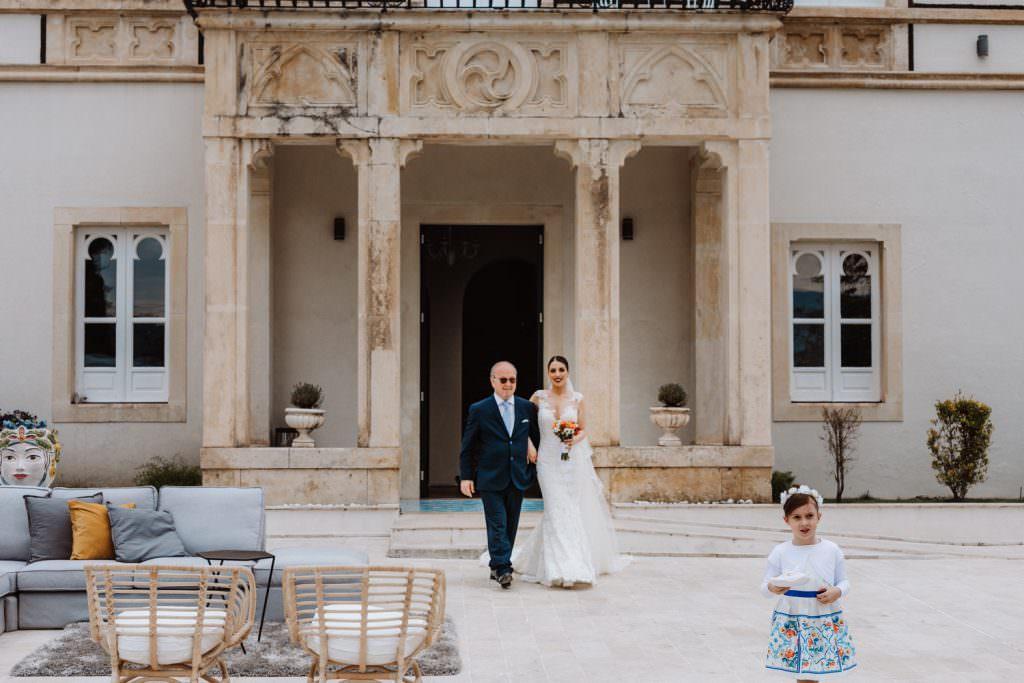 Coastal Wedding in Taormina, Sicily, bride and dad