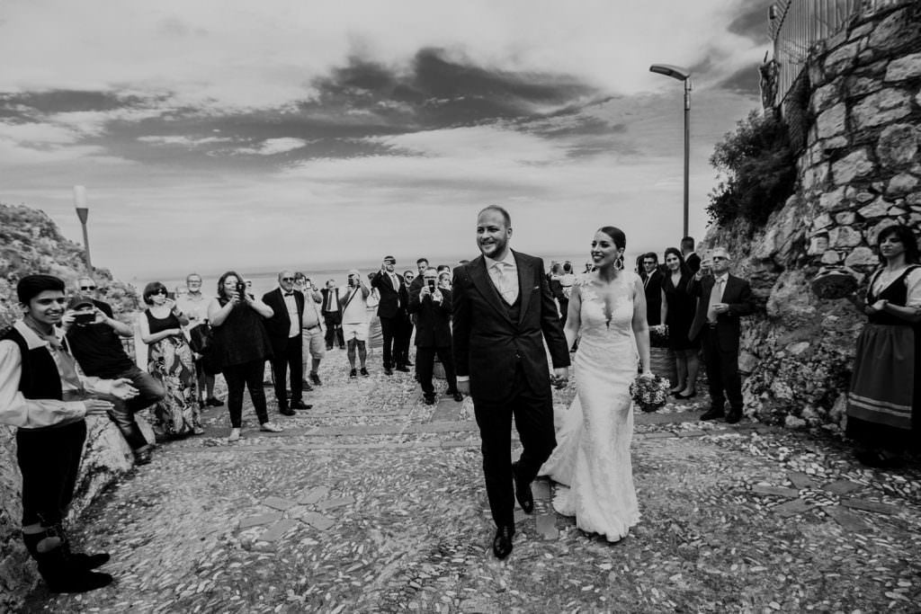 Candid Wedding Photography in Taormina, Sicily, walk bride and groom