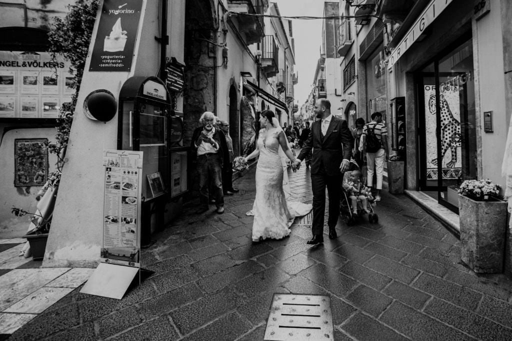 Candid Wedding Photography in Taormina, Sicily, bride and groom, walk
