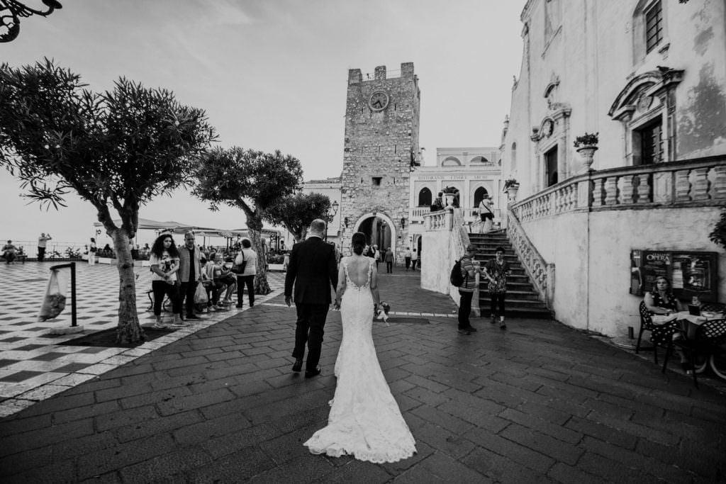 Coastal Wedding in Taormina, Sicily, bride and groom, walk