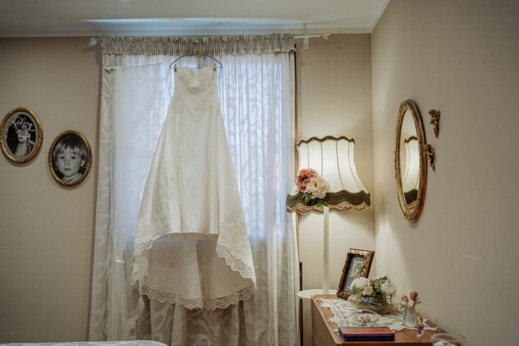 Bride's dress in Evangelical Christian Wedding