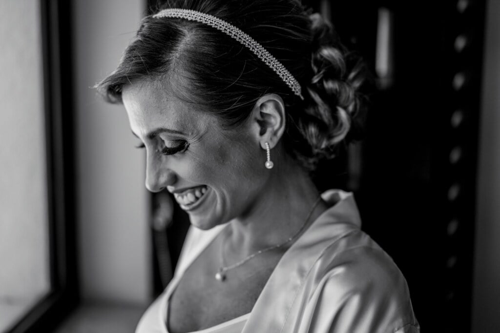 Bride smile, getting ready in Evangelical Christian Wedding