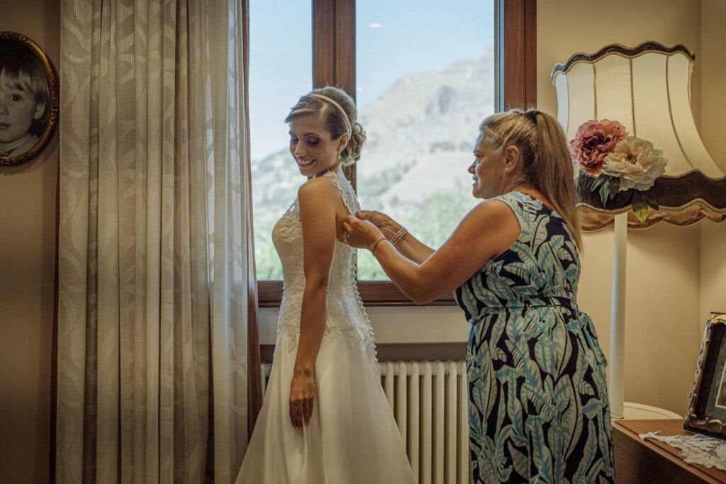 Bride getting ready in Evangelical Christian Wedding