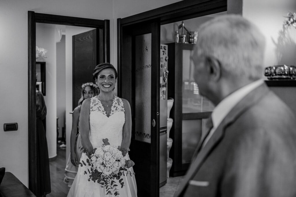 Bride meet her father in Evangelical Christian Wedding