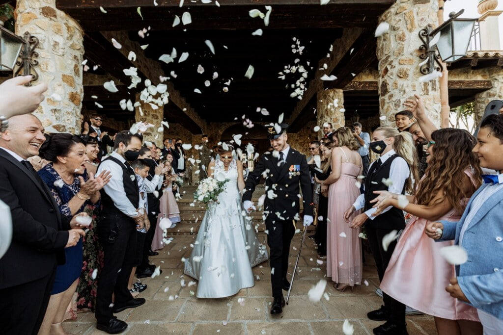 wedding confetti throwing  in Evangelical Christian Wedding