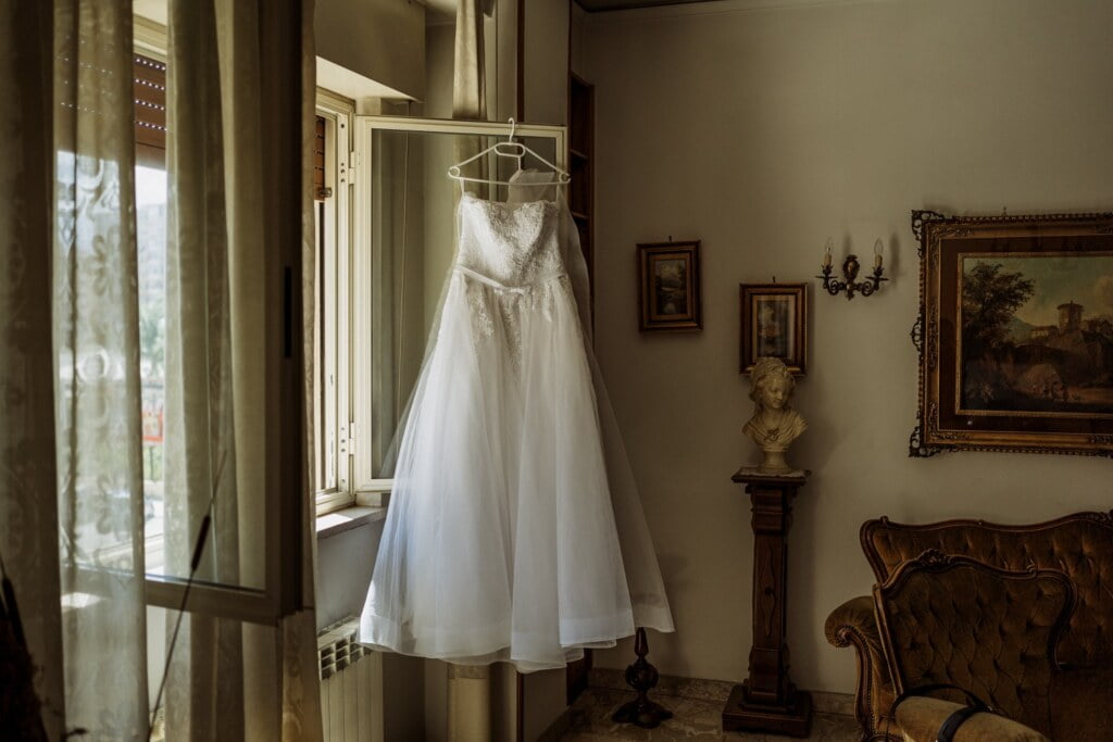 Bride's dress in elegant destination wedding in Sicily