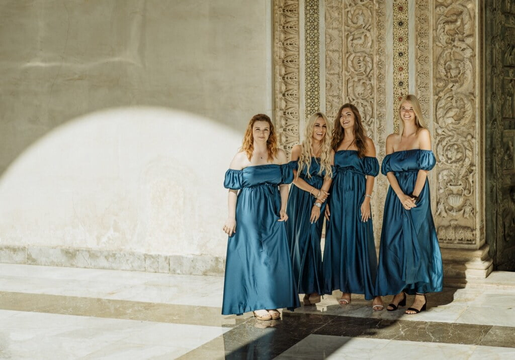 Bridesmaids in elegant destination wedding in Sicily