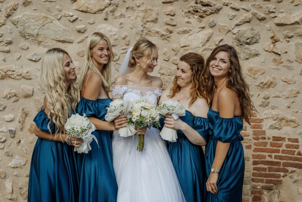 Bridesmaids Portrait in elegant destination wedding in Sicily