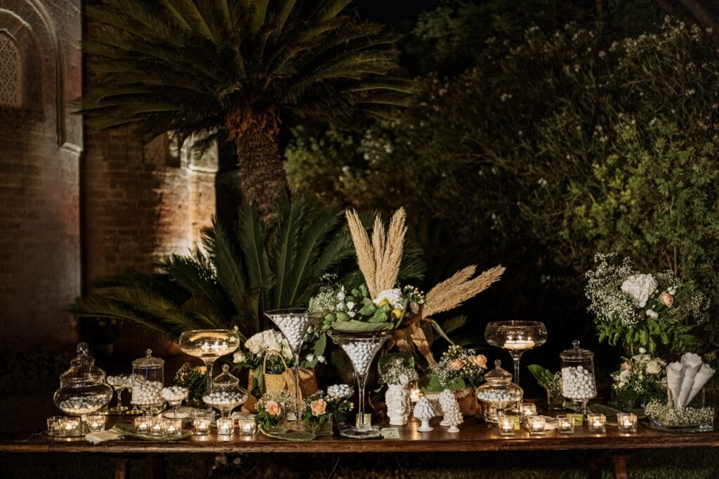 Details of the party in elegant destination wedding in Sicily