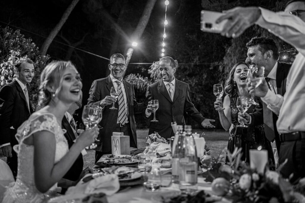 Party in elegant destination wedding in Sicily