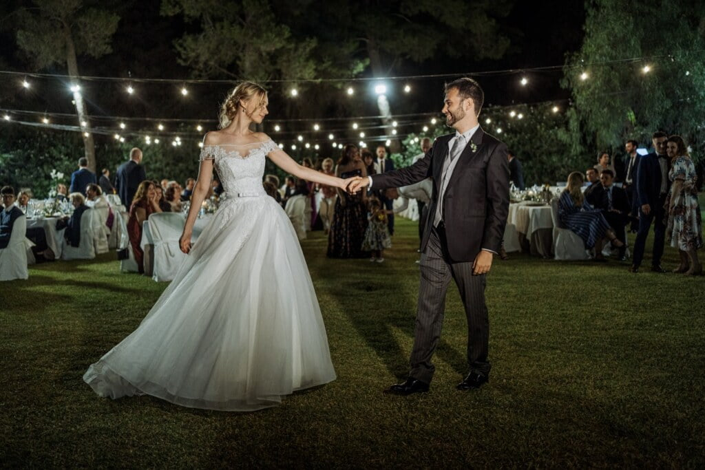 Bride and Groom's dance in elegant destination wedding in Sicily