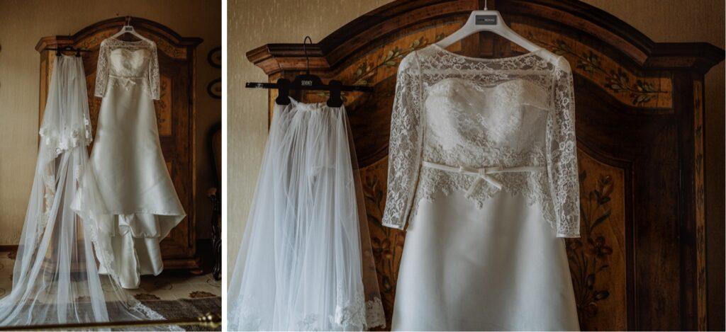 details of the bride dress