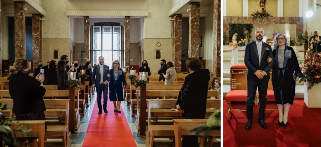 the groom enters the church
